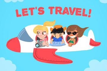 飞机旅游插画图片