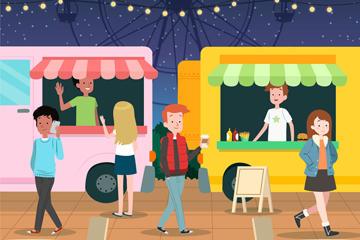 卡通游乐园小吃车背景图片