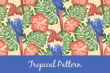 手绘鹦鹉花卉背景图片