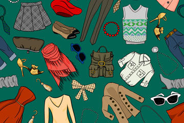 彩绘时尚服饰矢量图