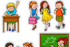卡通学生与老师矢量图