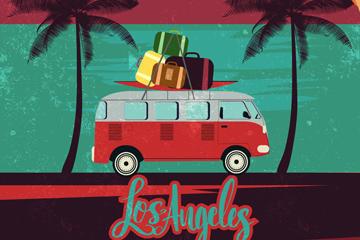 复古海边度假巴士海报