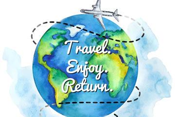 环球旅行插画背景图片