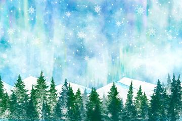 森林雪山风景图片