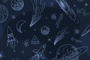彩绘太空元素背景图片