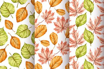 彩绘树叶无缝背景图