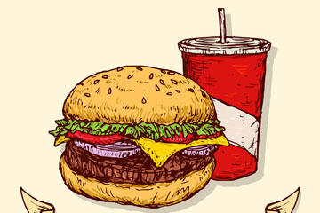 汉堡可乐矢量图