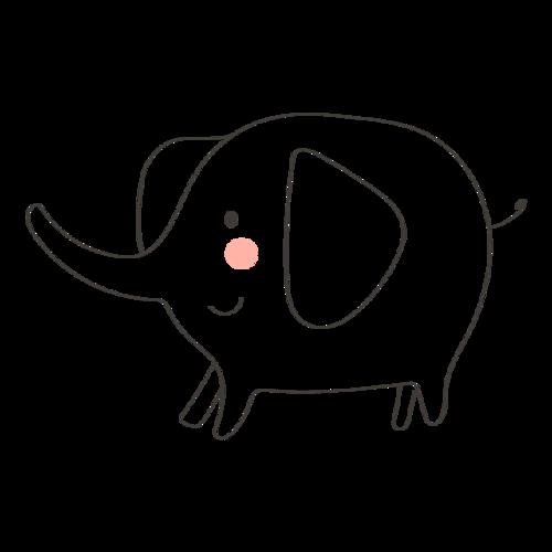 简约手绘大象图片