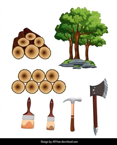 砍树主题设计图片