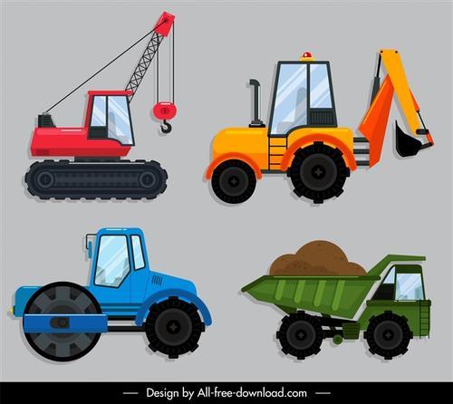 建筑工地施工车辆矢量图