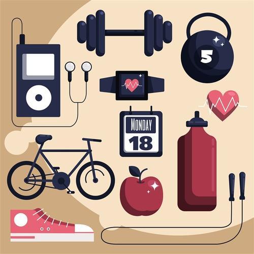 健身物品矢量图