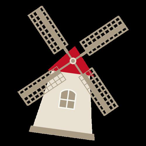 农场风车插画