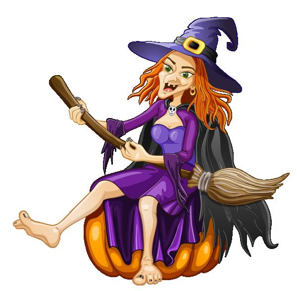 女巫骑扫帚插画