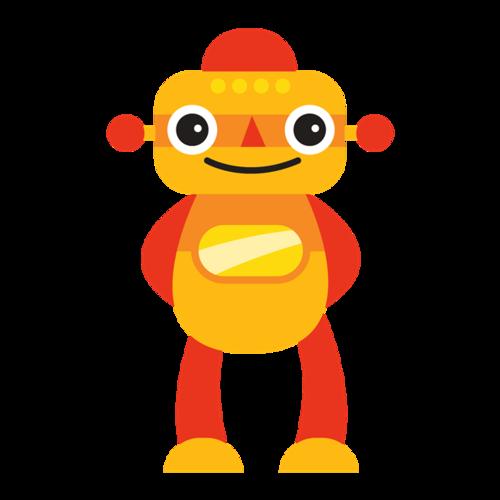 橙色卡通机器人免抠图