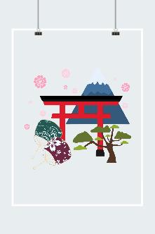 日本樱花手绘矢量图