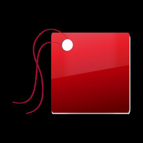 深红正方形吊牌矢量图