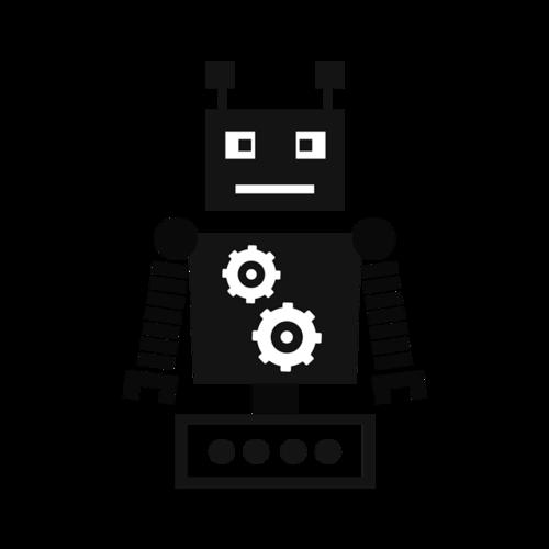 黑白机器人矢量图