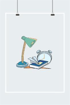 台灯闹钟插画图片