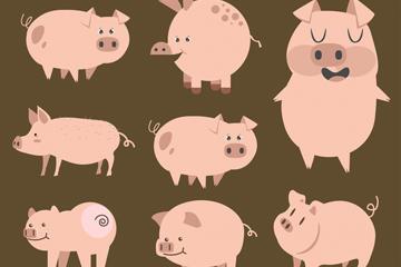 12生肖猪矢量图