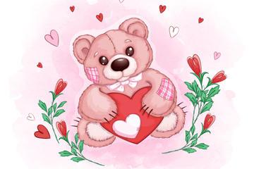 爱心熊矢量图