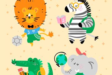 创意校园动物卡通图片
