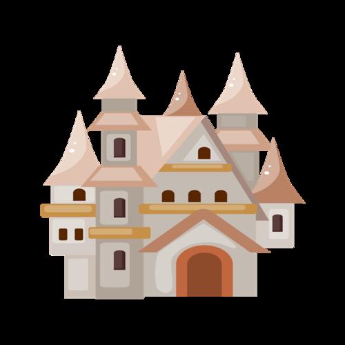 粉色城堡建筑插画