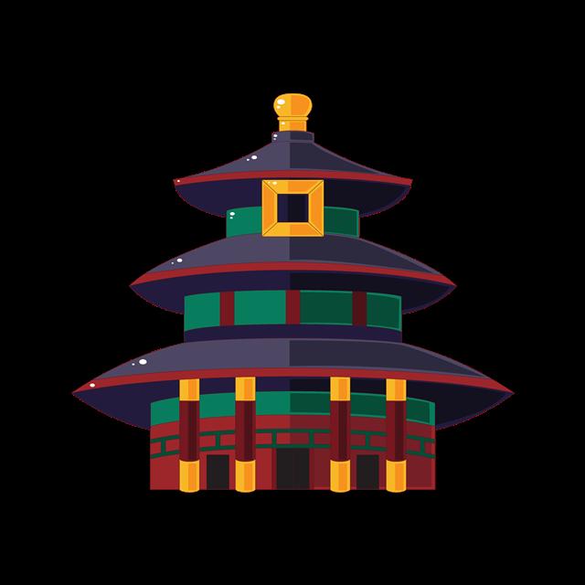 北京天坛卡通插画