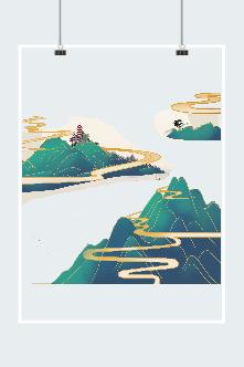 祥云山峦山水画