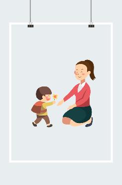男孩向女老师献花矢量图