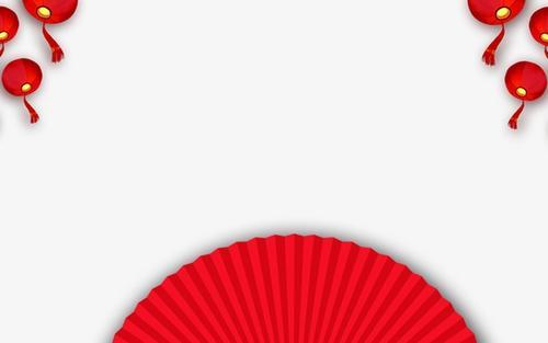 新年元素紅扇子圖片