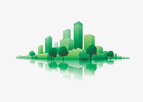 綠色環保城市卡通圖片